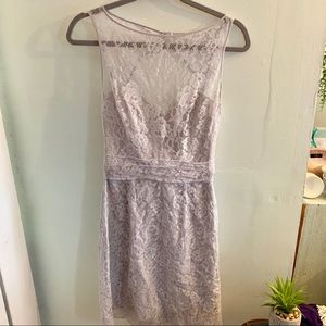 •Amsale• Grey Lace Dress